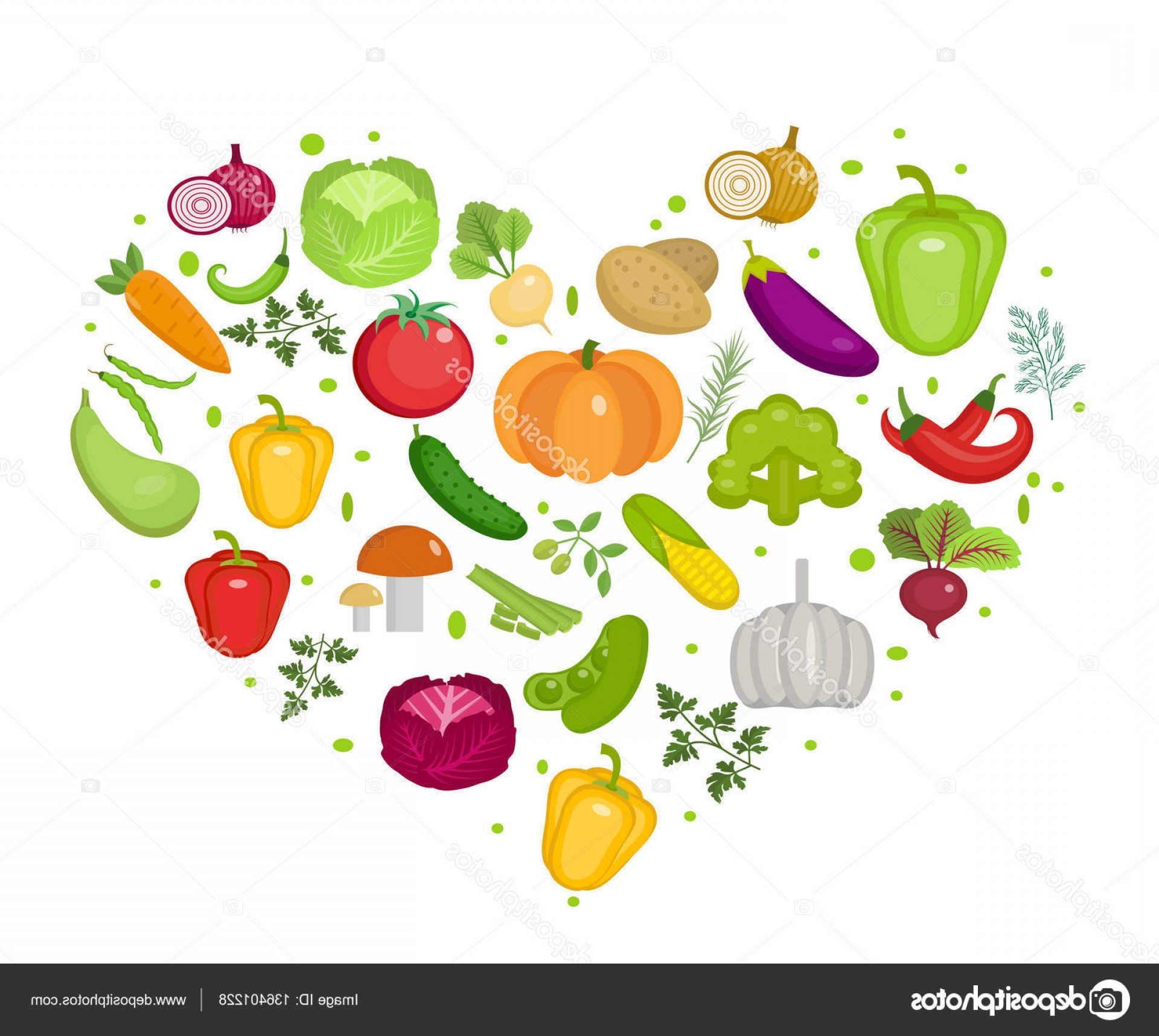 Vegan Heart Vectors: Stock Illustration Vegetables Icon Set In Heart