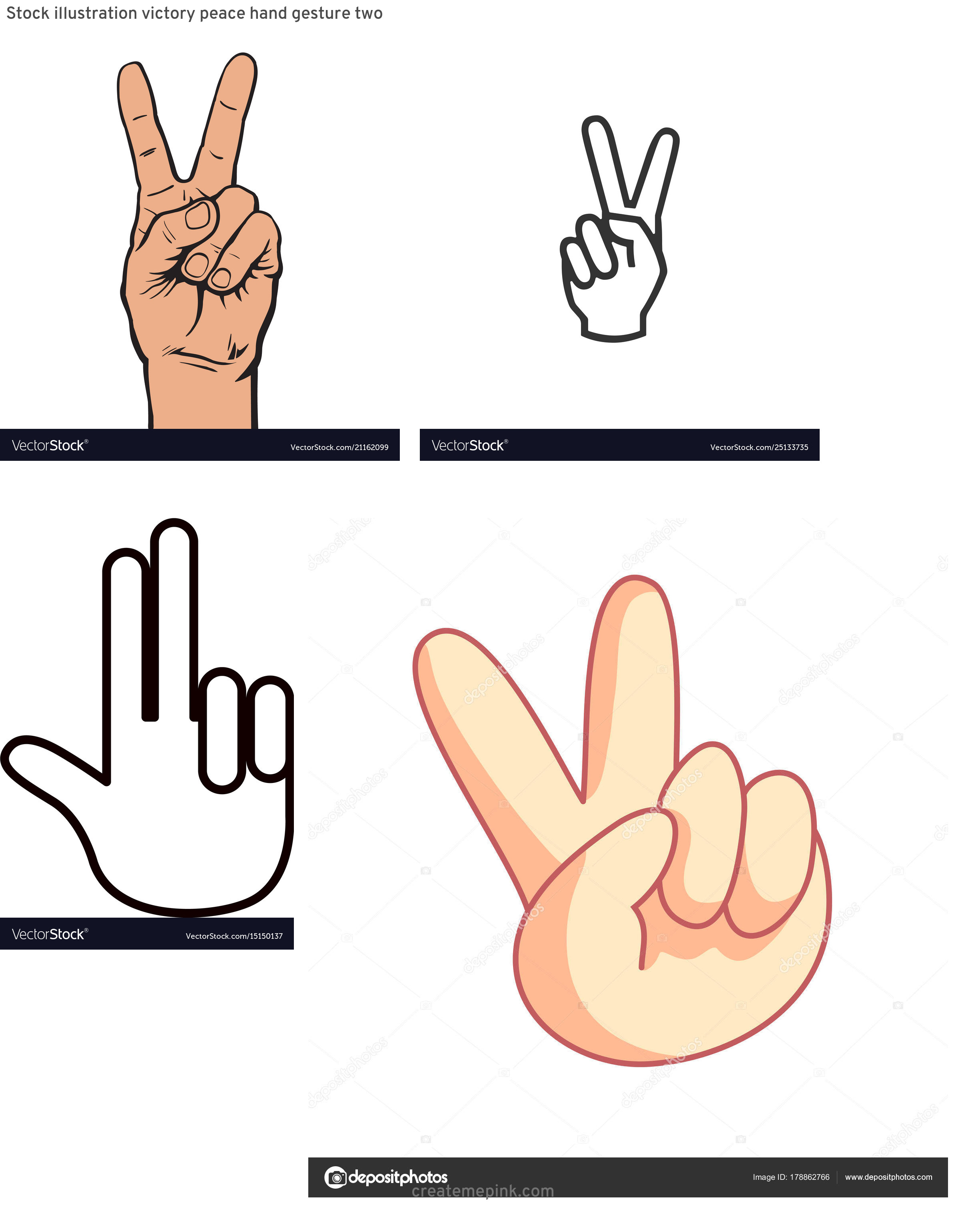 Two Finger Vector: Stock Illustration Victory Peace Hand Gesture Two