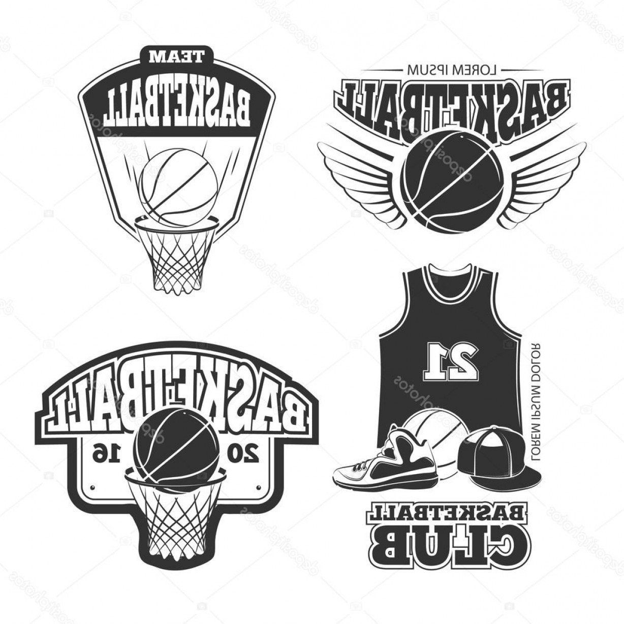 Vintage Basketball Vector: Stock Illustration Vintage Basketball Vector Vintage Emblems