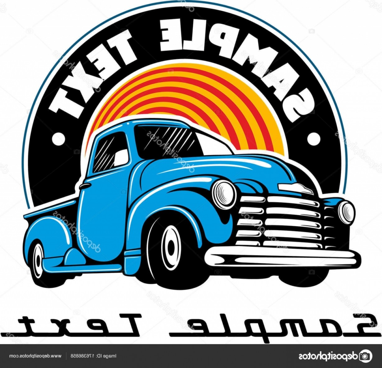 Chevy Logo Vector: Stock Illustration Vintage Blue Chevy Truck Vintage