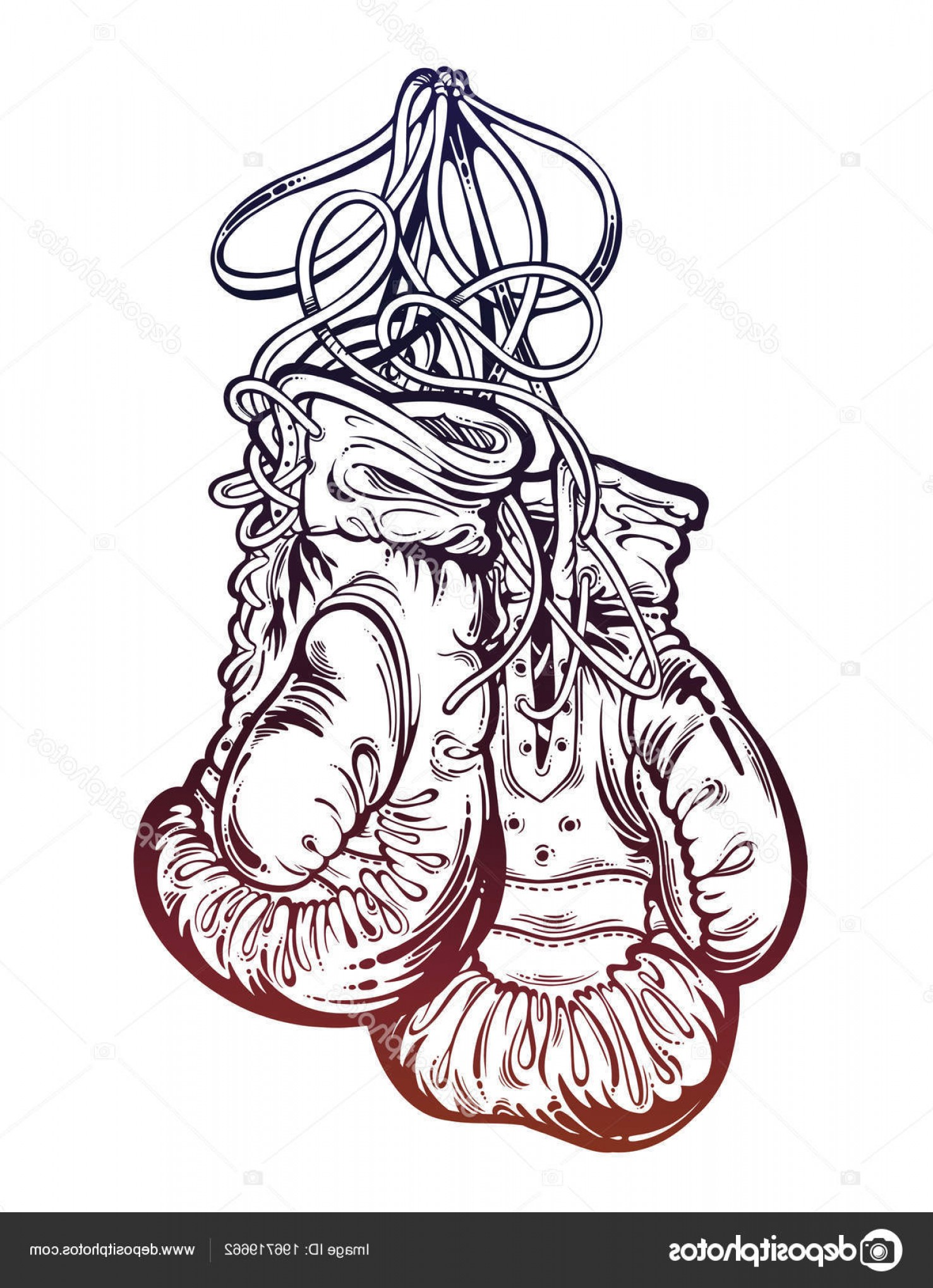 Pictures Of Boxing Gloves Vector Art: Stock Illustration Vintage Boxing Gloves Hanging From