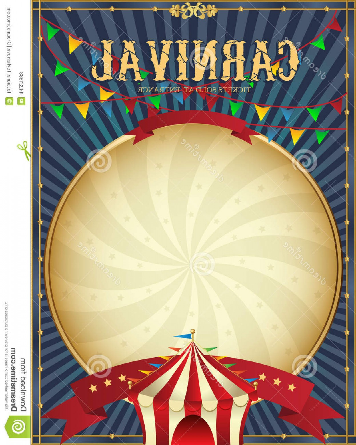 Circus Background Vector: Stock Illustration Vintage Carnival Circus Poster Template Vector Illustration Festive Background Style Hand Drawing Retro Card Image