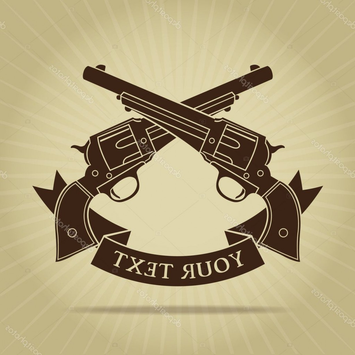 Vintage Crossed Pistols Vector: Stock Illustration Vintage Crossed Pistols Silhouette