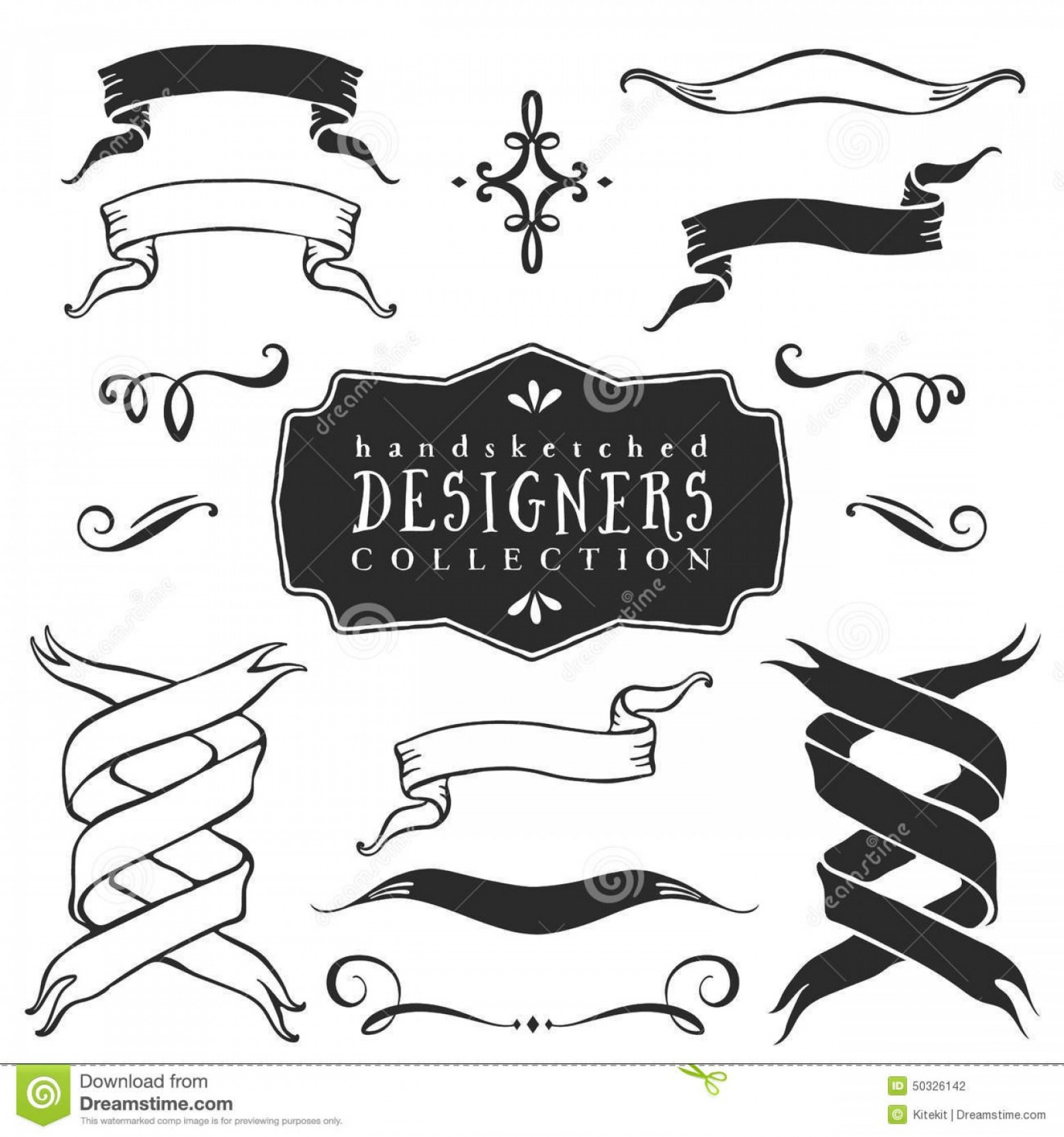 Ribbion Banner Vector: Stock Illustration Vintage Decorative Ribbon Banners Collection Hand Drawn Vector Design Elements Image