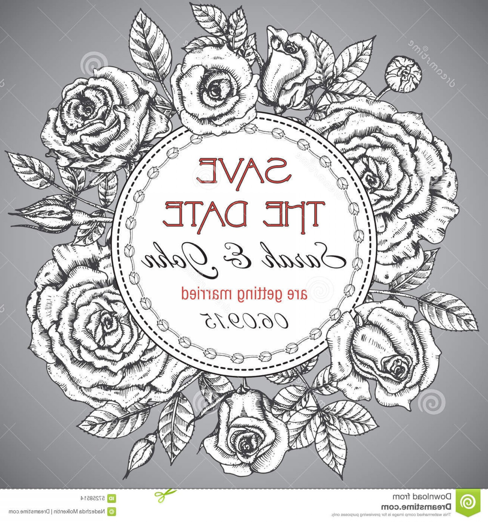 Elegant Wedding Vector Graphics: Stock Illustration Vintage Elegant Wedding Invitation Graphic Roses Card Save Date Leaves Vector Illustration Image