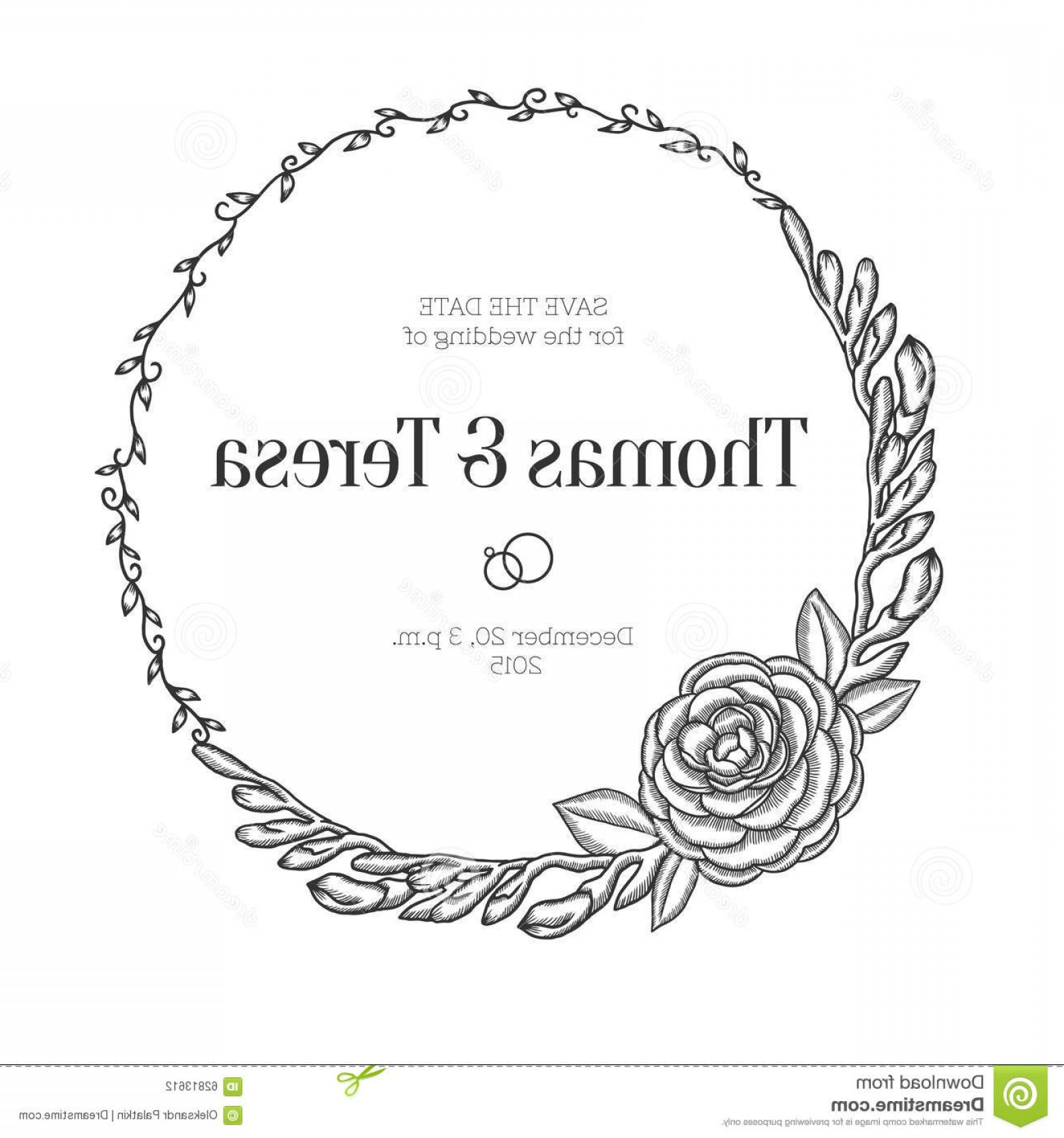 Vector Flower Wreaths In Black: Stock Illustration Vintage Floral Wreath Wedding Invitation Hand Drawn Round Vector Illustration Image