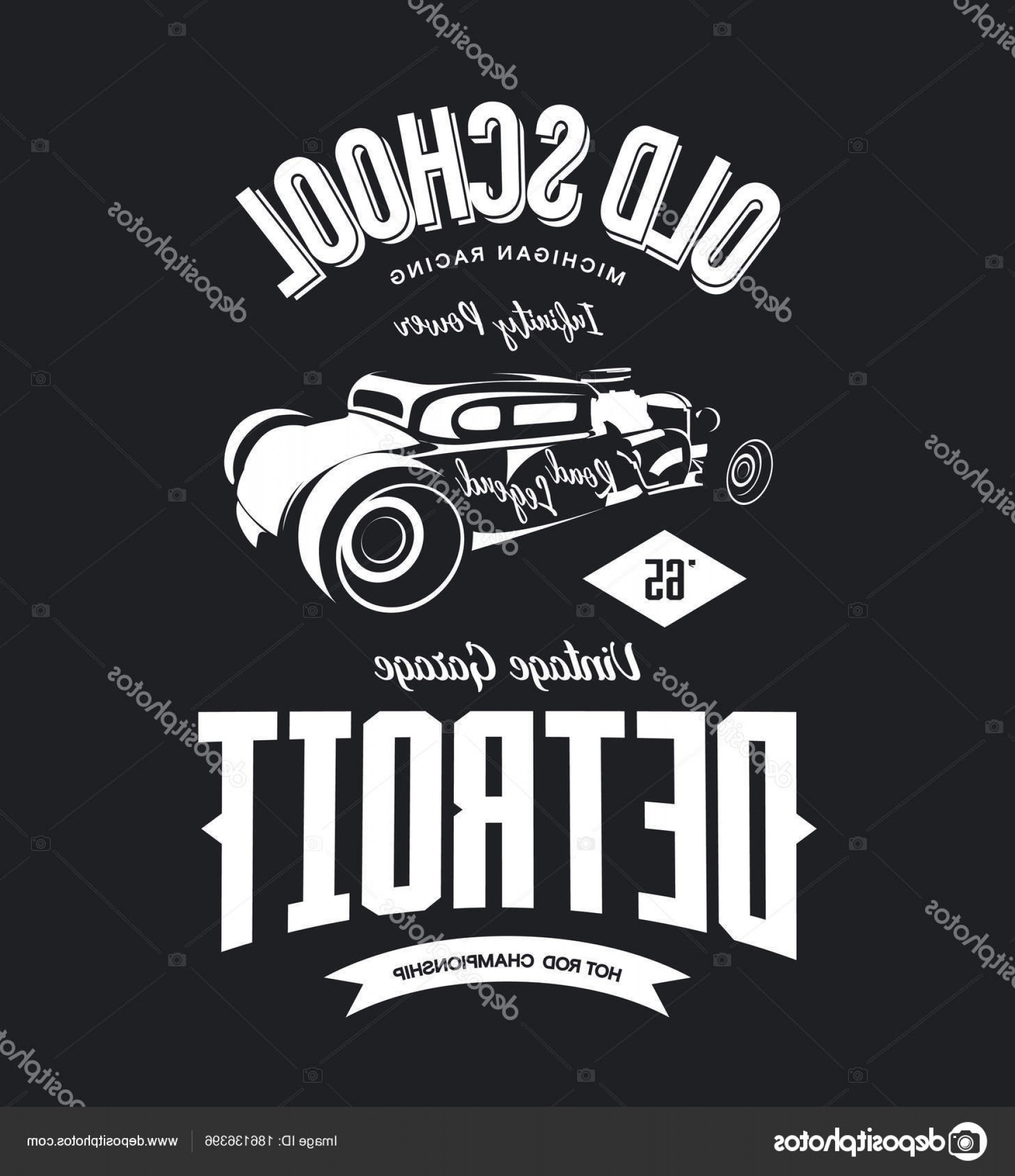 Michigan Vector Artwork: Stock Illustration Vintage Hot Rod Vector Logo