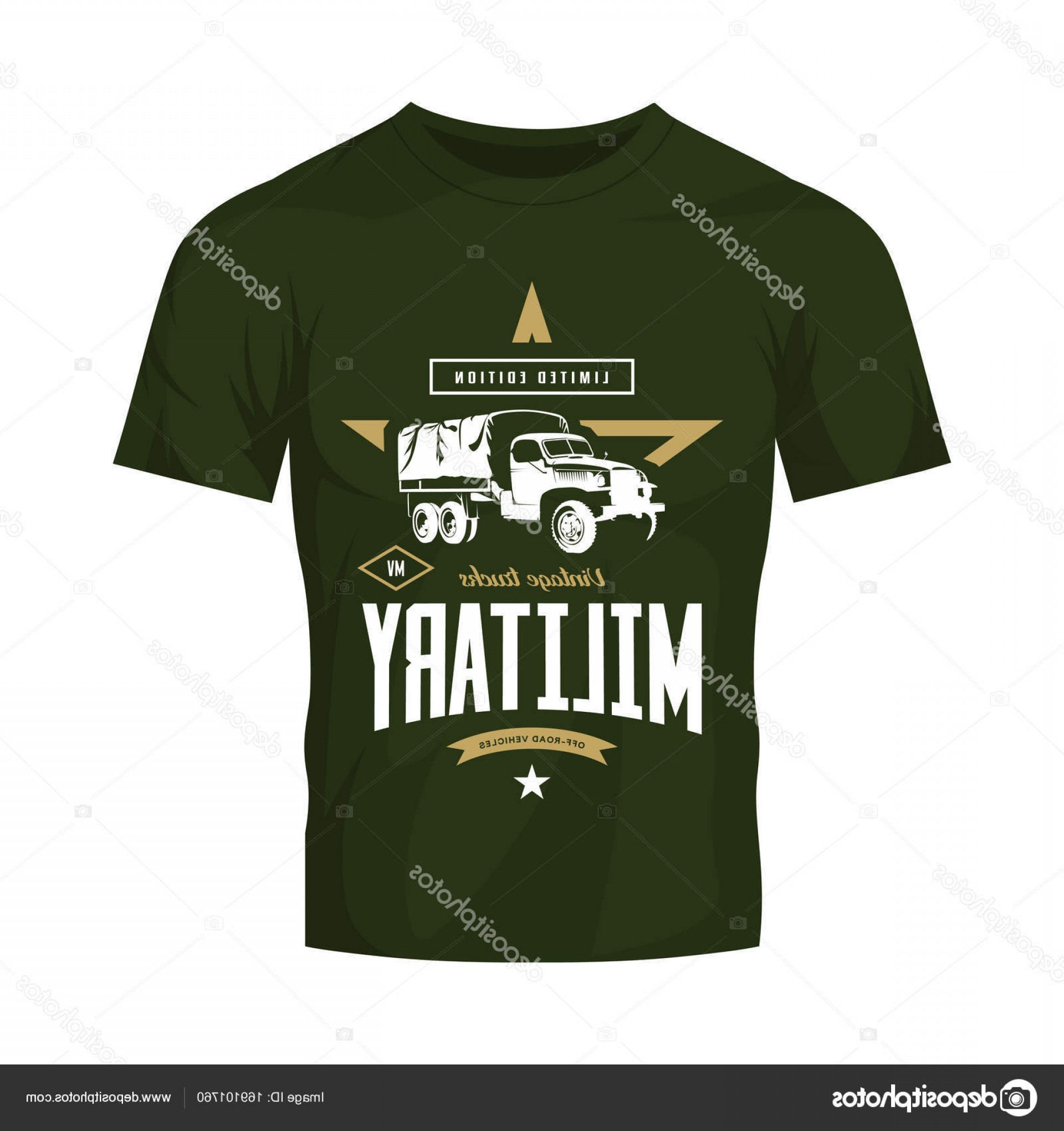 Military T-Shirt Designs Vectors: Stock Illustration Vintage Military Truck Vector Logo