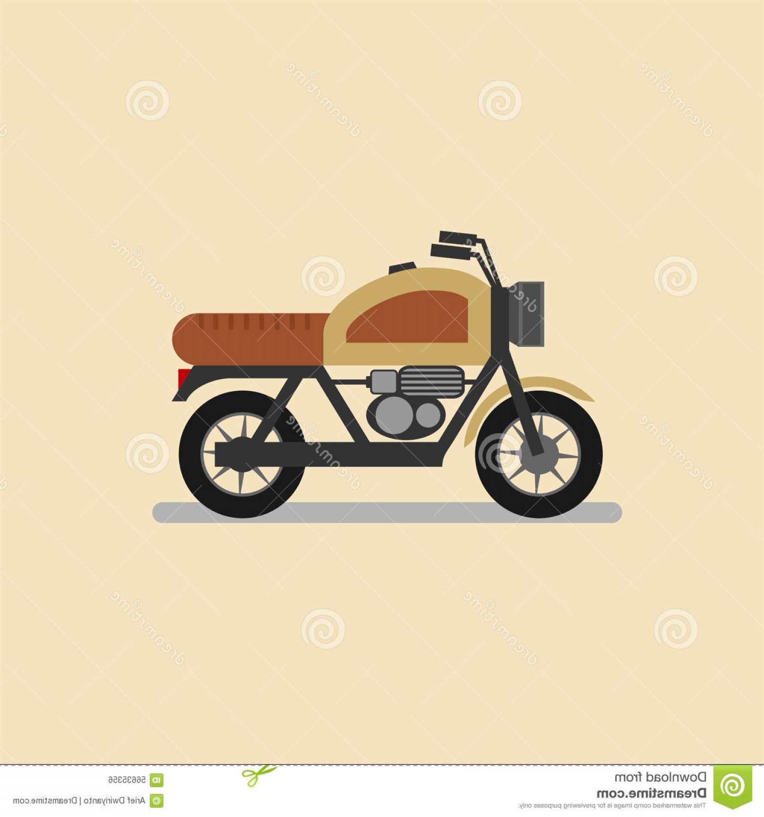 Flat Vector Motorcycle: Stock Illustration Vintage Motorcycle Flat Design Your Project Image