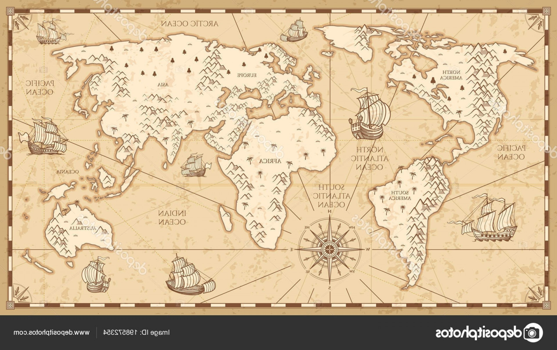 Vector World Map With Rivers: Stock Illustration Vintage Physical World Map With