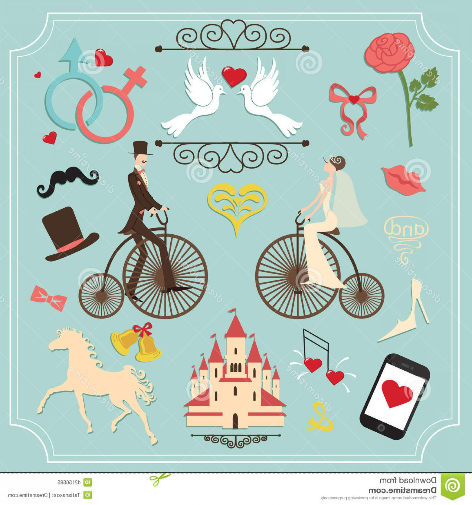 Cute Design Elements Vector Set: Stock Illustration Vintage Set Wedding Invitation Cute Design Elements Kit Template Iconsin Vector Image