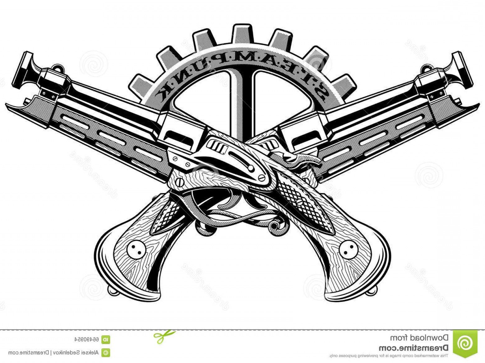 Vintage Crossed Pistols Vector: Stock Illustration Vintage Steampunk Guns Vector Illustration Old Crossed Pistols Image