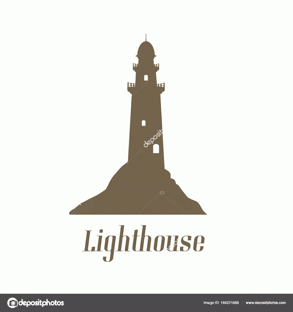 Lighthouse Silhouette Vector Logo: Stock Illustration Vintage Style Poster With Lighthouse