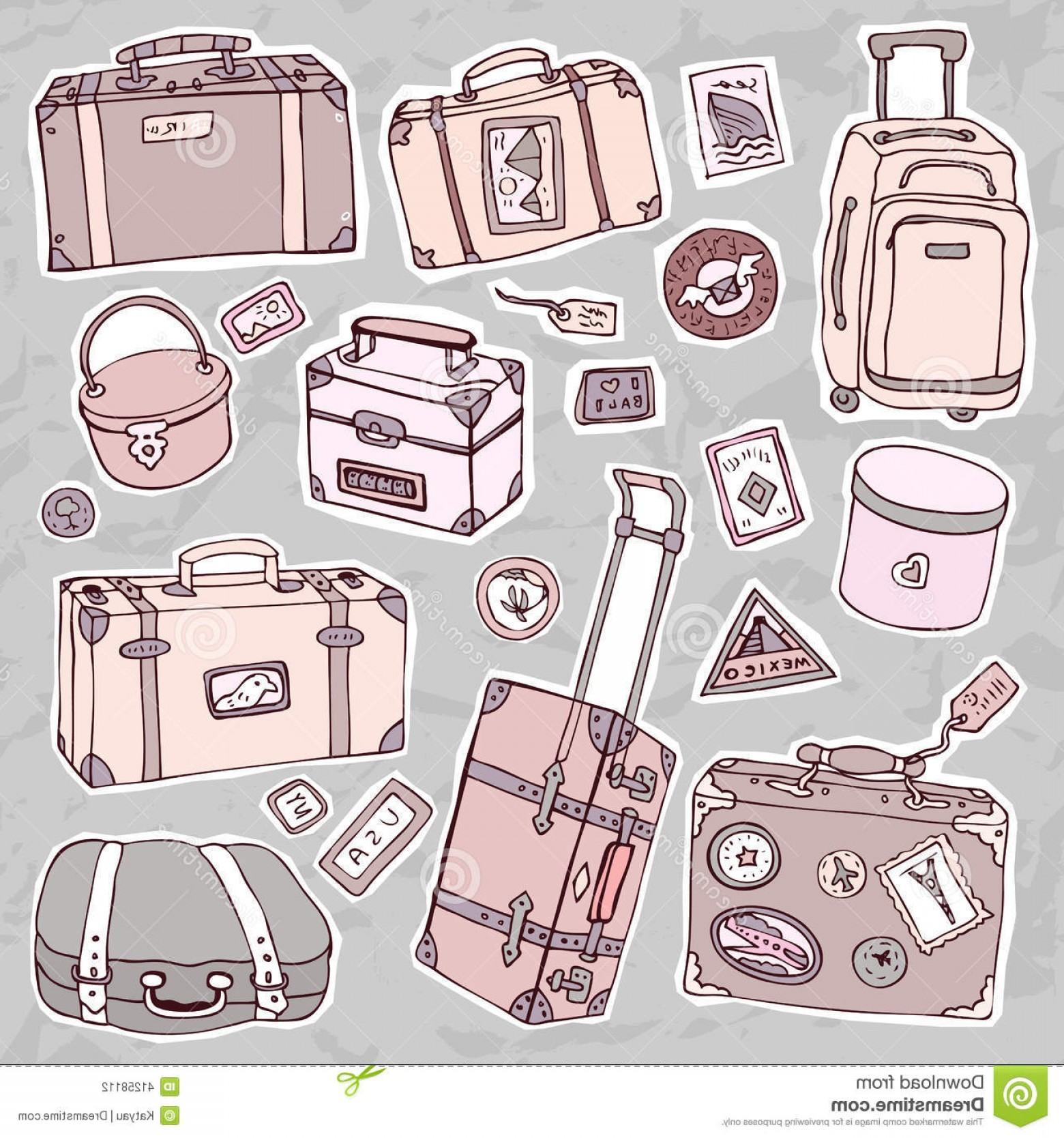 Vintage Luggage Vector: Stock Illustration Vintage Suitcases Set Travel Vector Illustration Collection Isolated Image