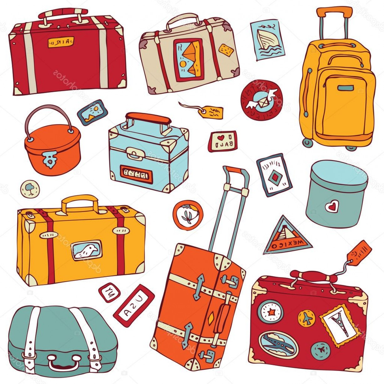 Vintage Luggage Vector: Stock Illustration Vintage Suitcases Set Travel Vector