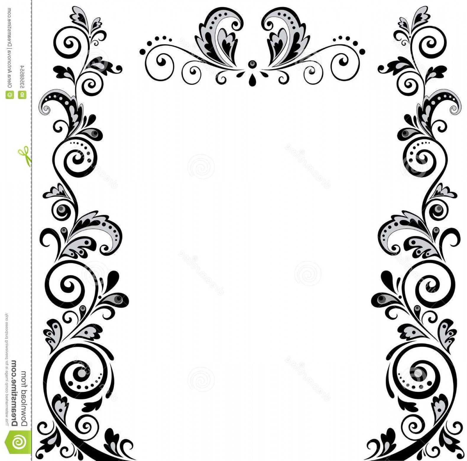 Simple Paisley Vector Border: Stock Illustration Vintage Wedding Border Floral Black White Image