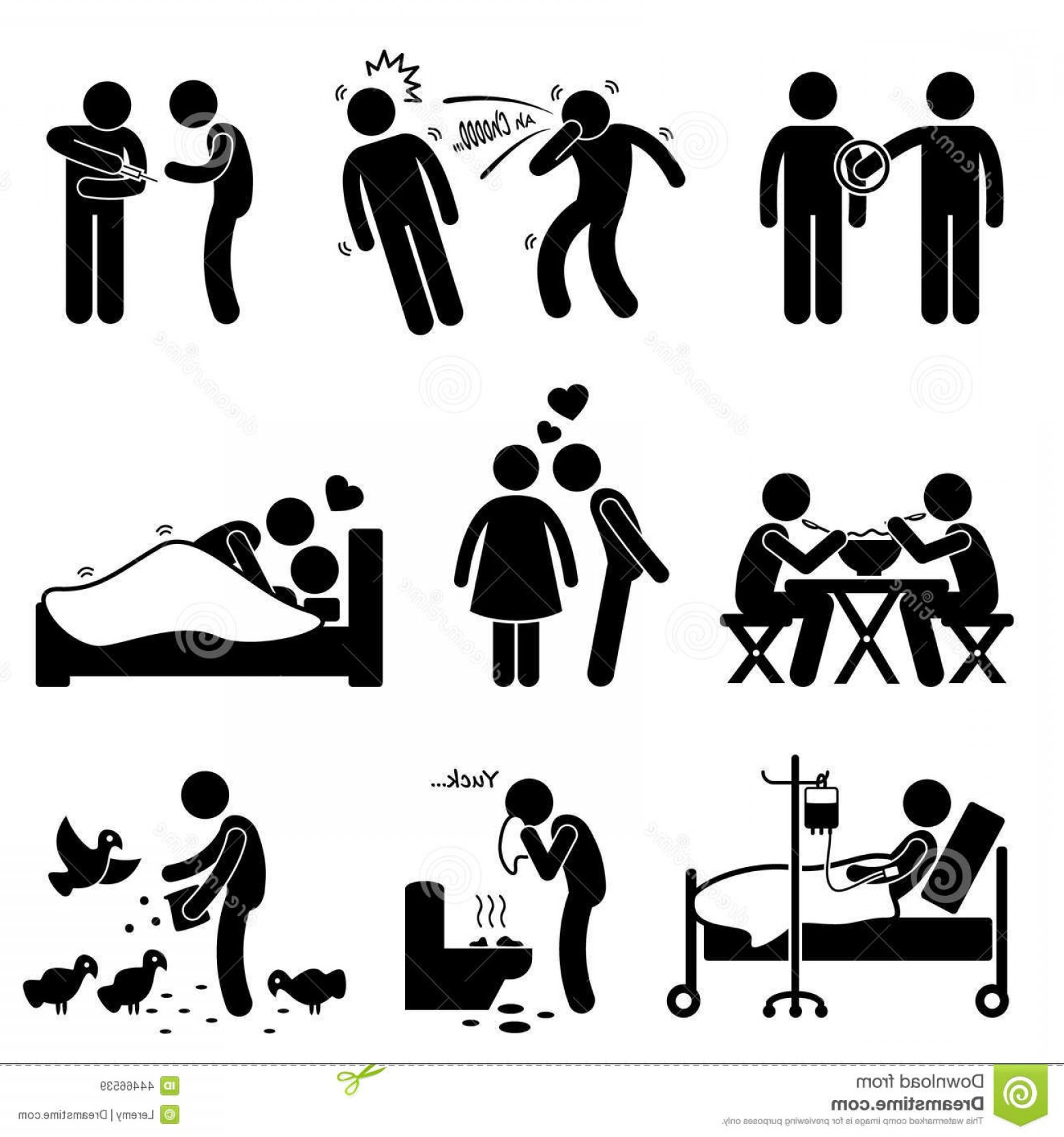 Vector -Borne Transmission Of Disease: Stock Illustration Virus Spread Diseases Transmission Infections Cliparts Set Human Pictogram Representing Ways Spreading One Image