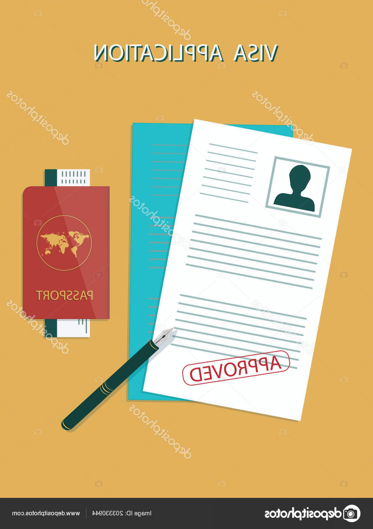 Vector Application Form: Stock Illustration Visa Application Form Photo Stamp