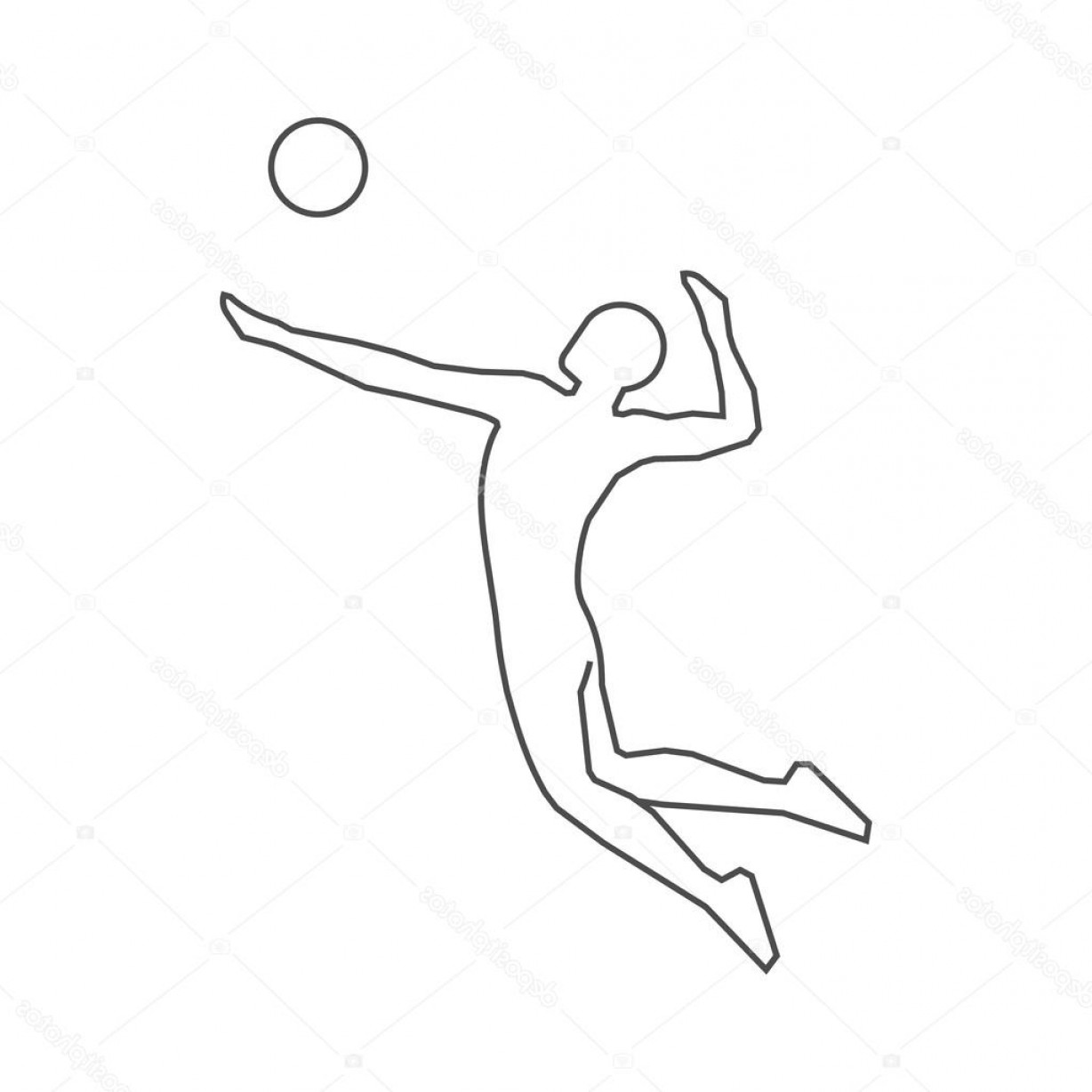 Volleyball Player Vector: Stock Illustration Volleyball Players Outline Silhouette