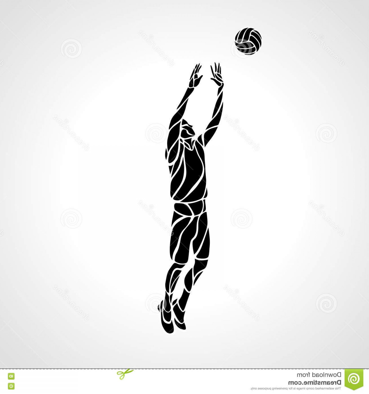 Volleyball Player Vector: Stock Illustration Volleyball Setter Silhouette Vector Illustration Stylized Athlete Played Player Position Eps Image