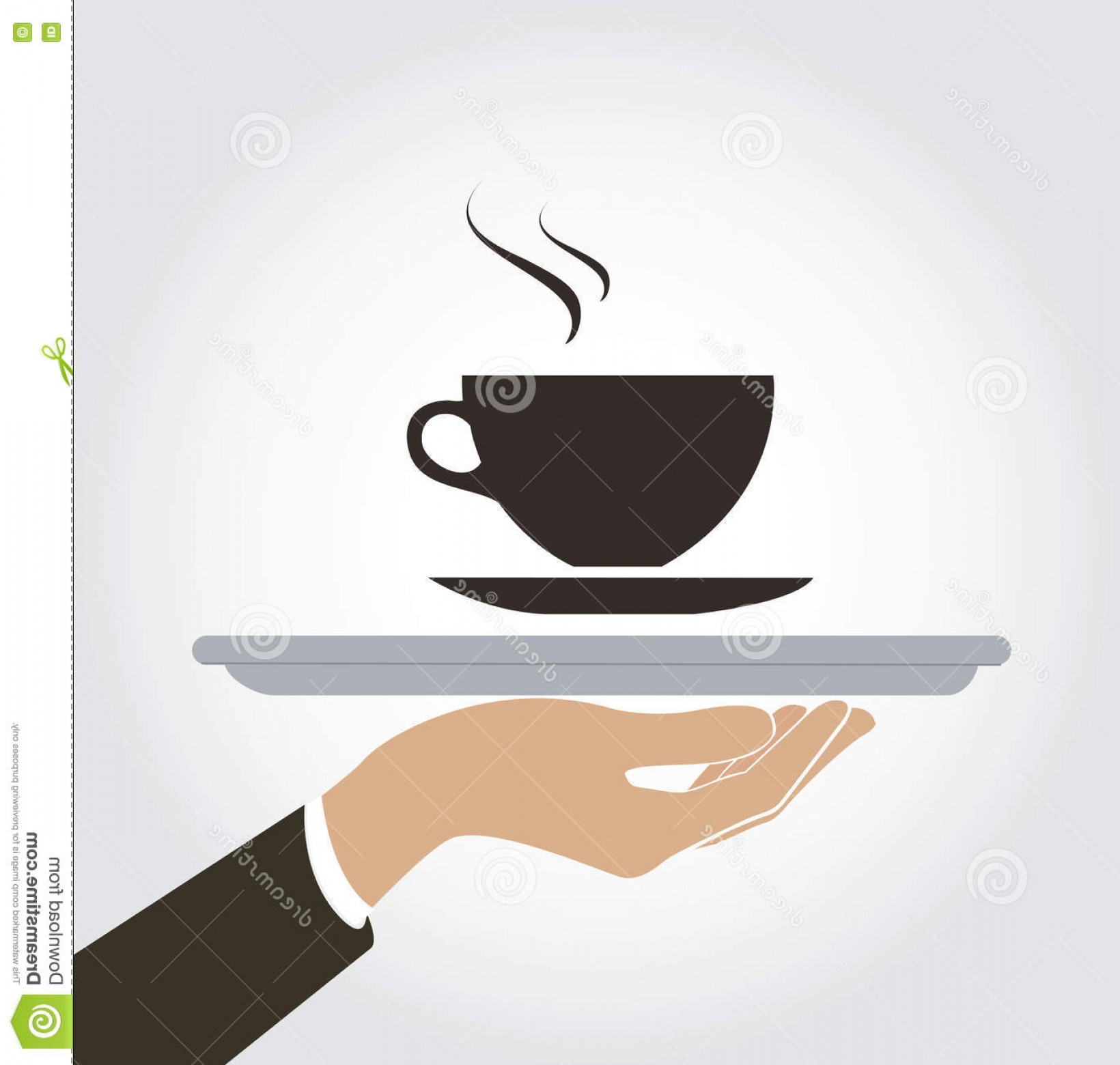 Vector Waiter Coffee: Stock Illustration Waiter Serve Coffee Hot Drink Icon Dish Up Coffee Vector Eps Image