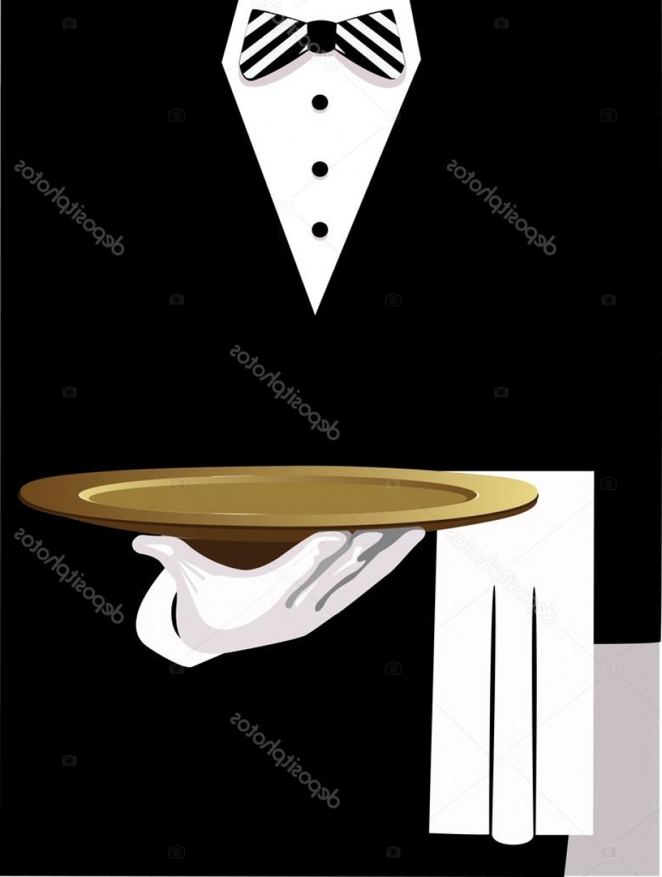 White Glove Service Vector: Stock Illustration Waiter Serves Vector Of Man