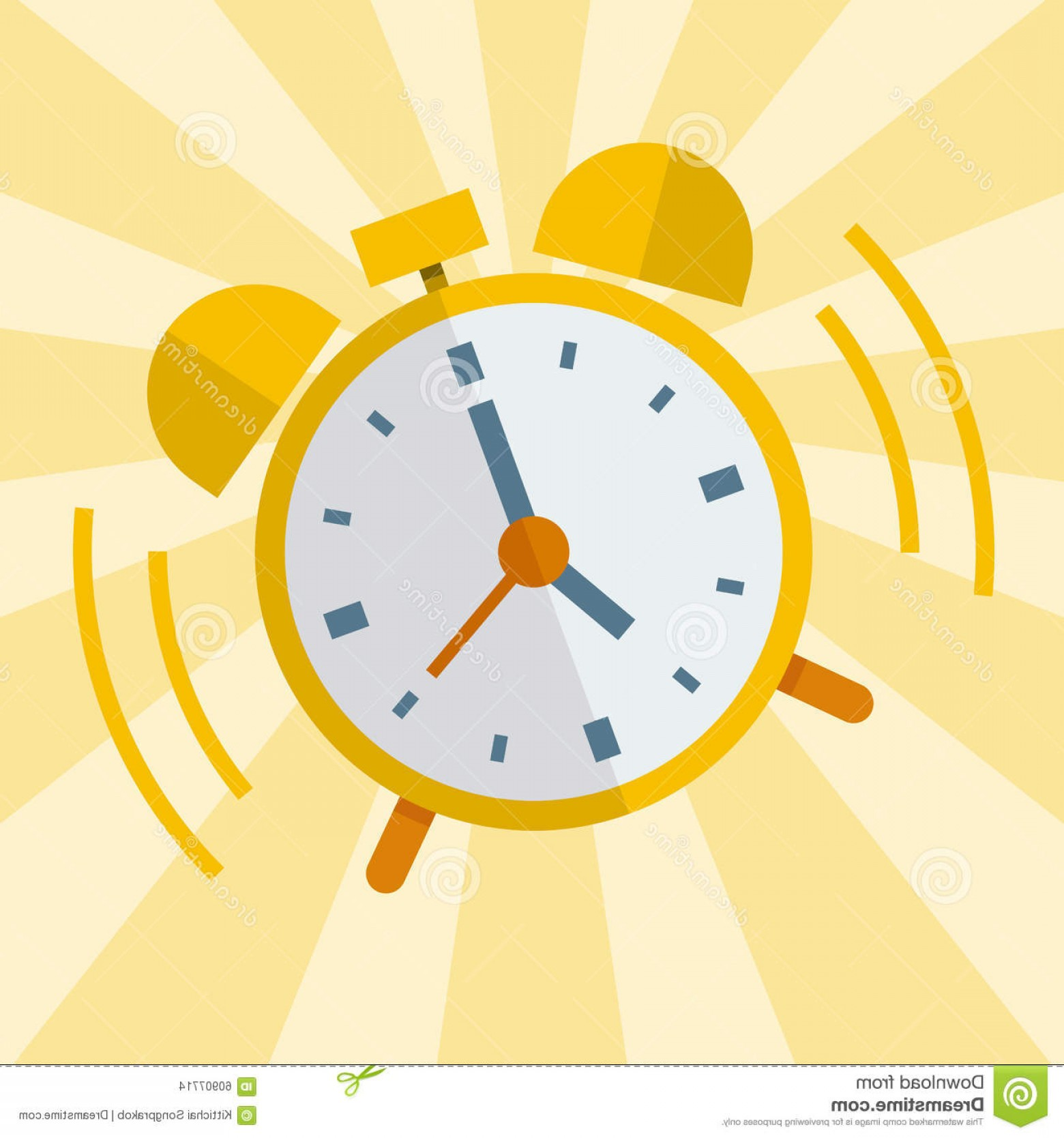 Old Floor Clock Vector: Stock Illustration Wake Up Alarm Clock Vector Flat Design Image