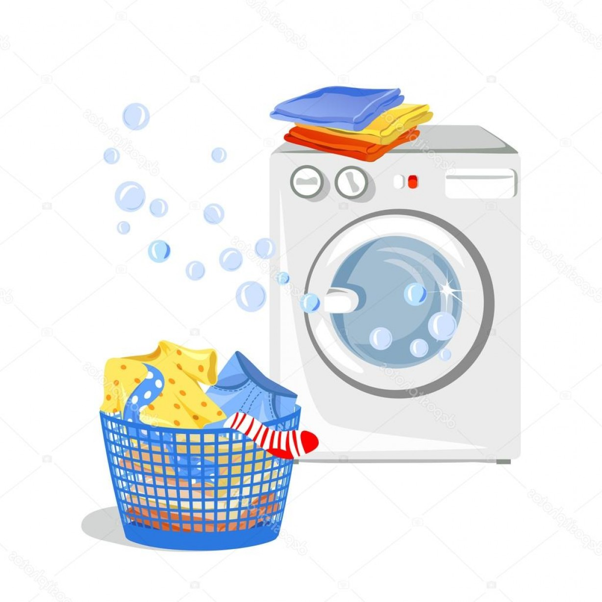 Clothes For Washing Vector: Stock Illustration Washing Machine And Clean Clothes