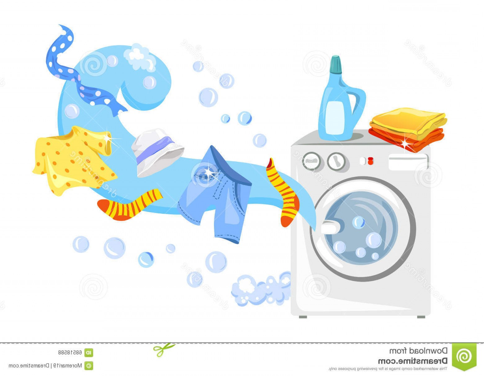 Clothes For Washing Vector: Stock Illustration Washing Machine Clean Clothes Vector Illustration Image