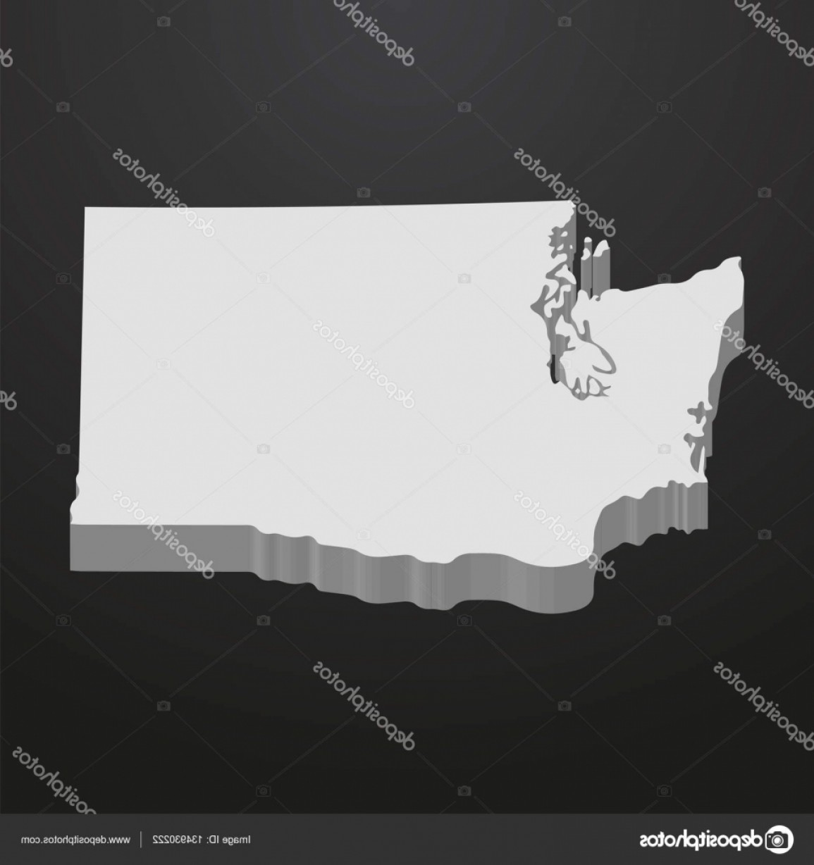 Washington State Map Vector: Stock Illustration Washington State Map In Gray
