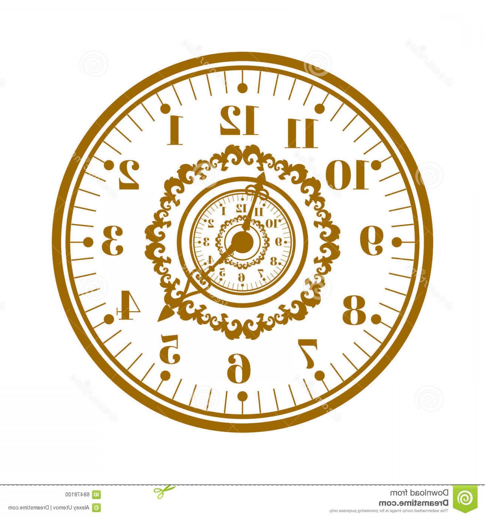 Watch Face Vector: Stock Illustration Watch Face Antique Clock Vector Illustration Flat Circle Measurement Time Dial Symbol Isolated White Image