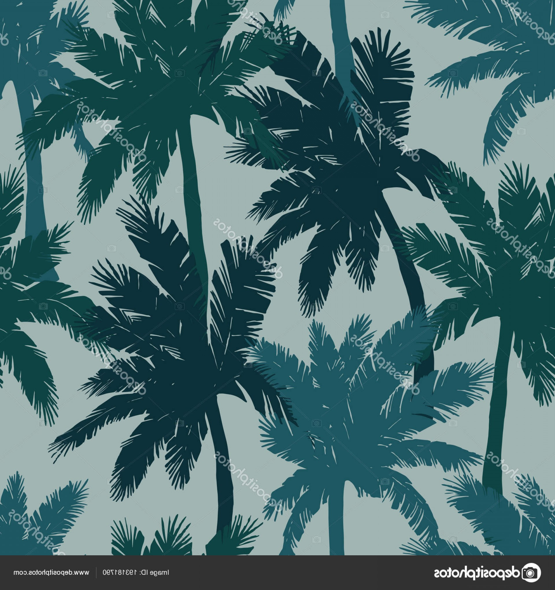 Watercolor Palm Tree Vector: Stock Illustration Watercolor Exotic Seamless Pattern Green