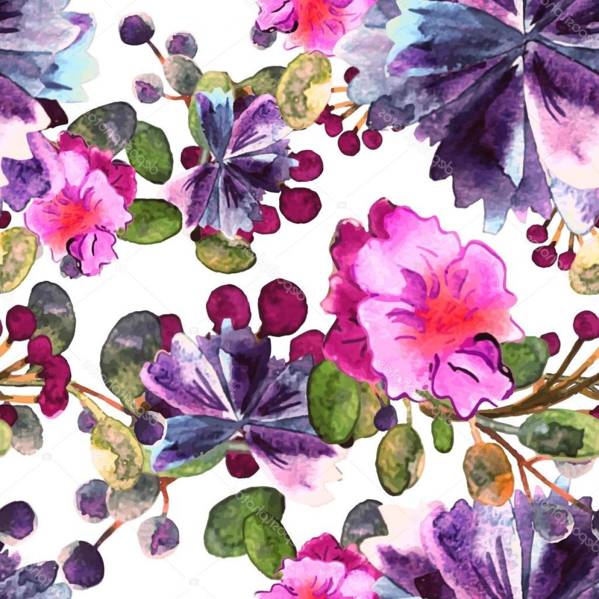 Watercolor Floral Background Vector: Stock Illustration Watercolor Floral Pattern Seamless With