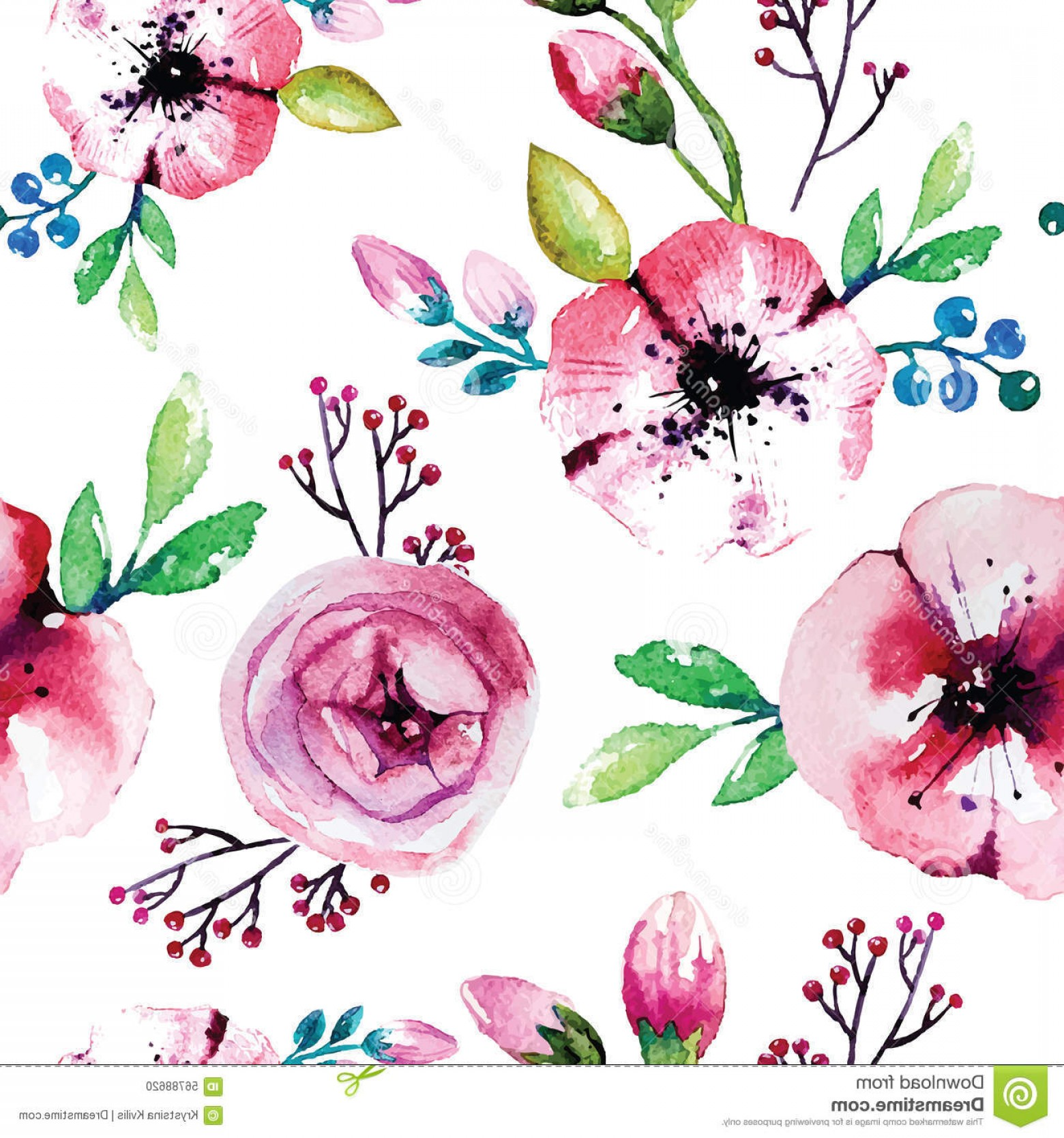 Stock Illustration Watercolor Painting Rose Flowers Seamless