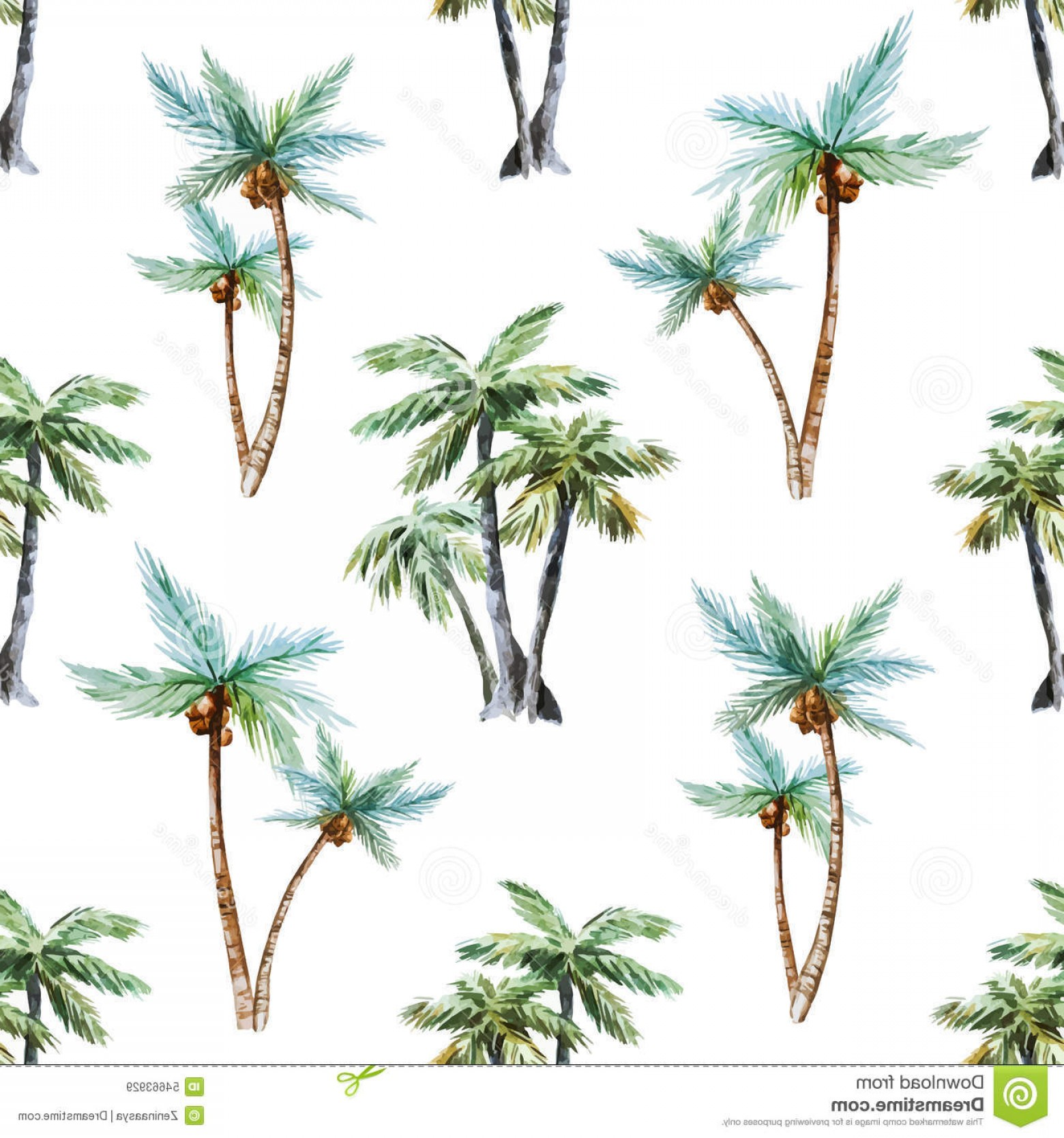 Watercolor Palm Tree Vector: Stock Illustration Watercolor Palm Trees Pattern Beautiful Vector Nice Image
