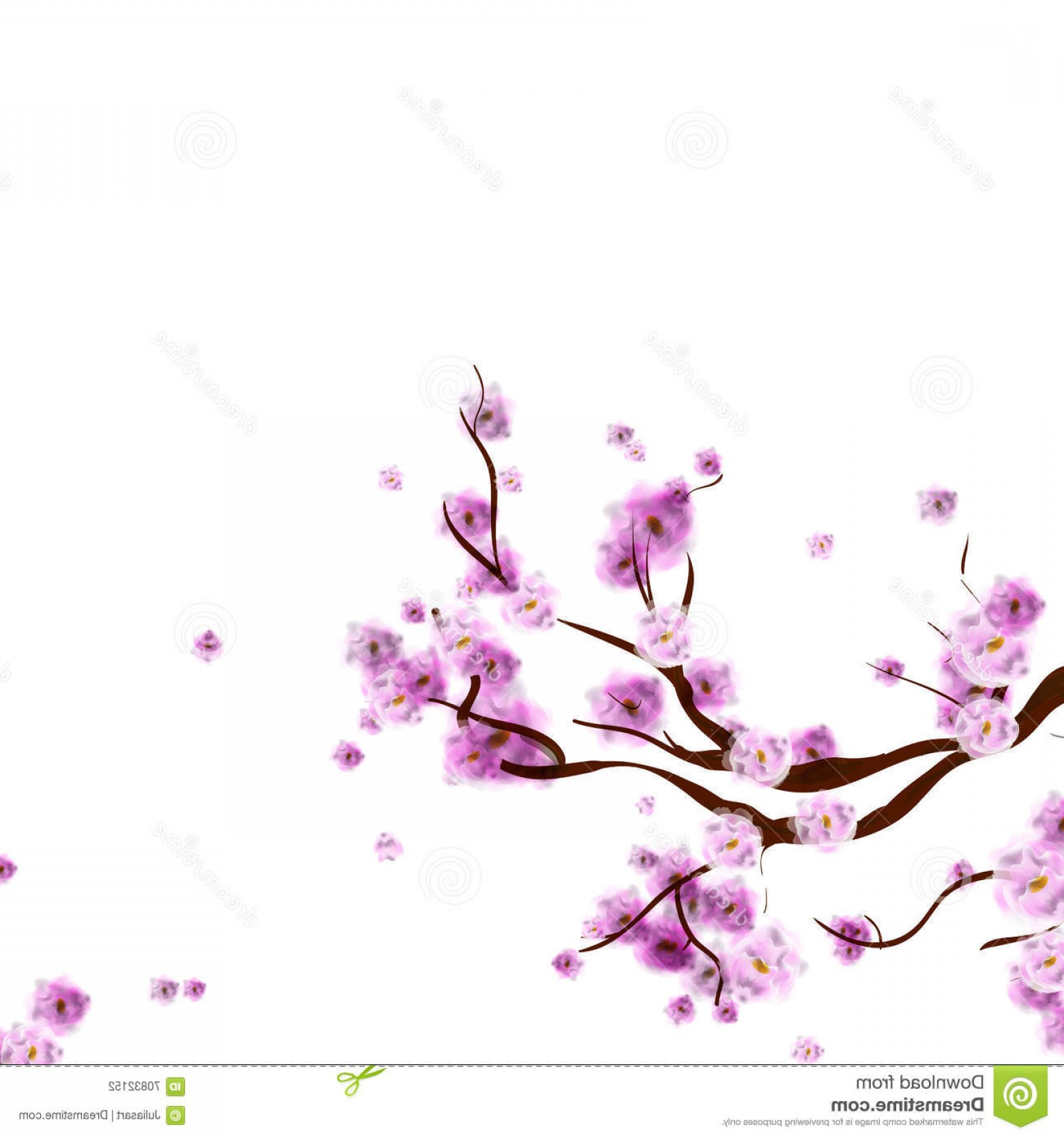 Tree Branch Vector Background: Stock Illustration Watercolor Sakura Background Blossom Cherry Tree Branch Flowers Isolated White Hand Drawn Vector Image