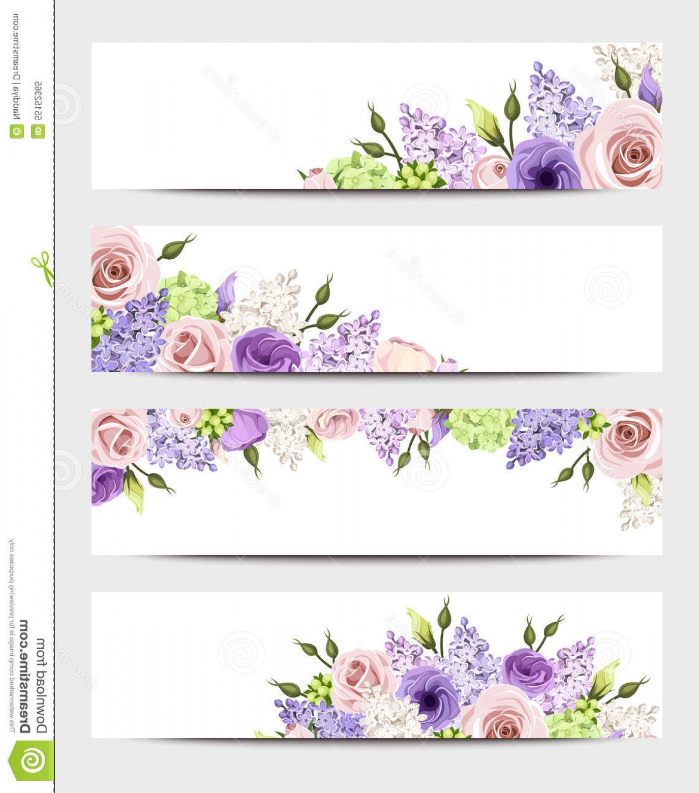 Purple Green And White Vector: Stock Illustration Web Banners Pink Purple White Roses Lilac Flowers Vector Eps Green Lisianthuses Hydrangea Image