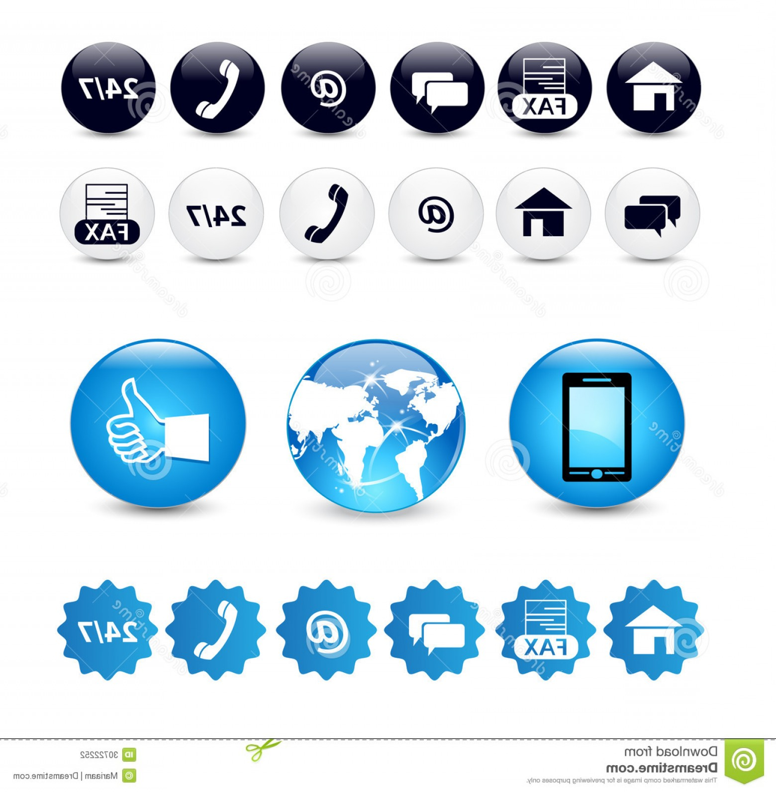 Contact Button Icons Vector Free: Stock Illustration Web Contact Us Buttons Set Email Telephone Mobile Icons Blue Silver Badge Vector Eps Illustration White Image