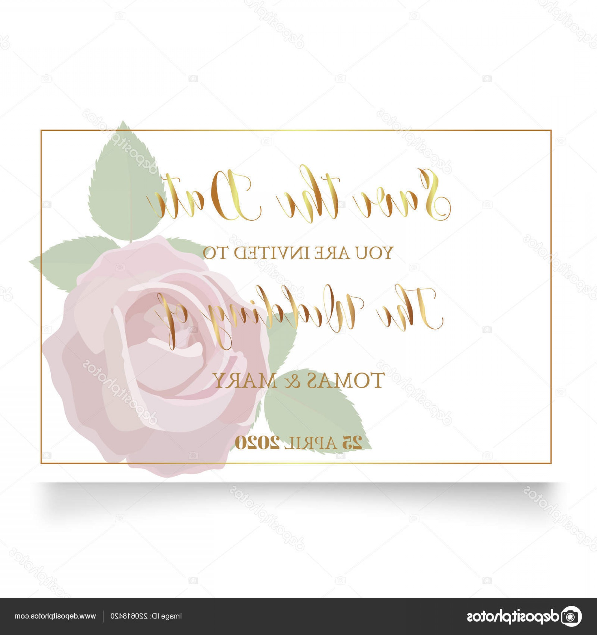 Rustic Wedding Invitation Vector: Stock Illustration Wedding Invitation Template Rose Ring