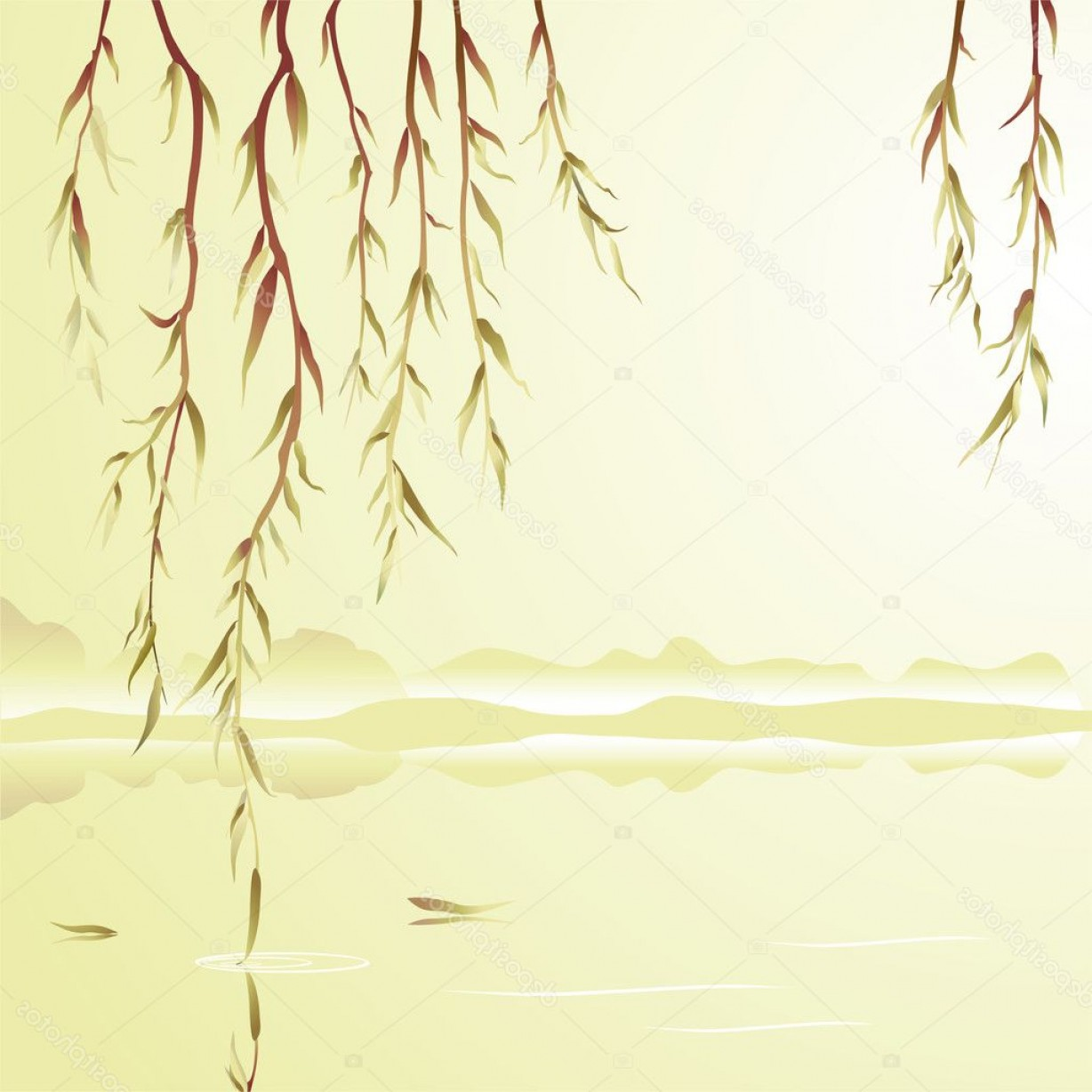 Vector Water Willow: Stock Illustration Weeping Willow Above The Water