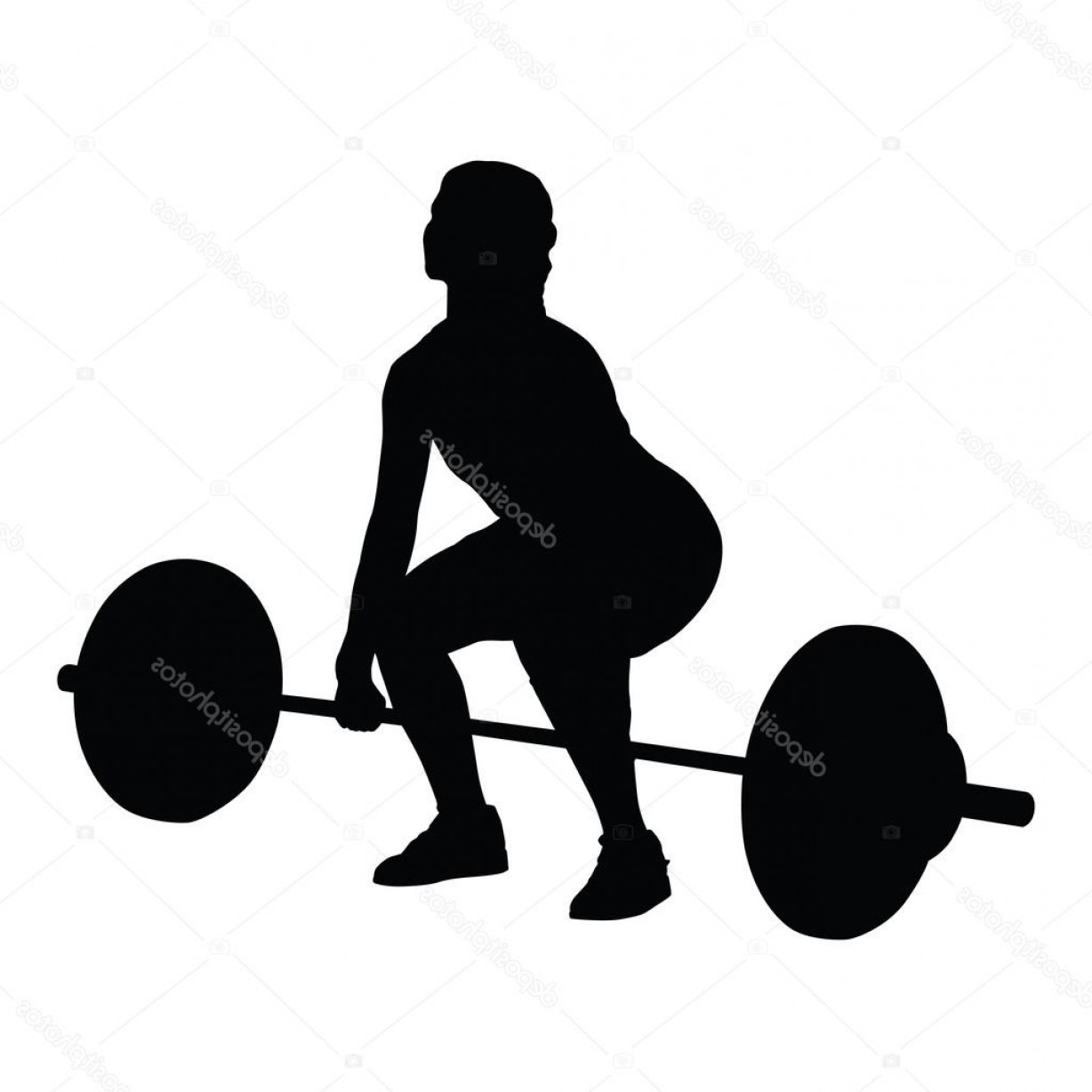 Vector Weight Lifting: Stock Illustration Weight Lifting Woman Vector Silhouette