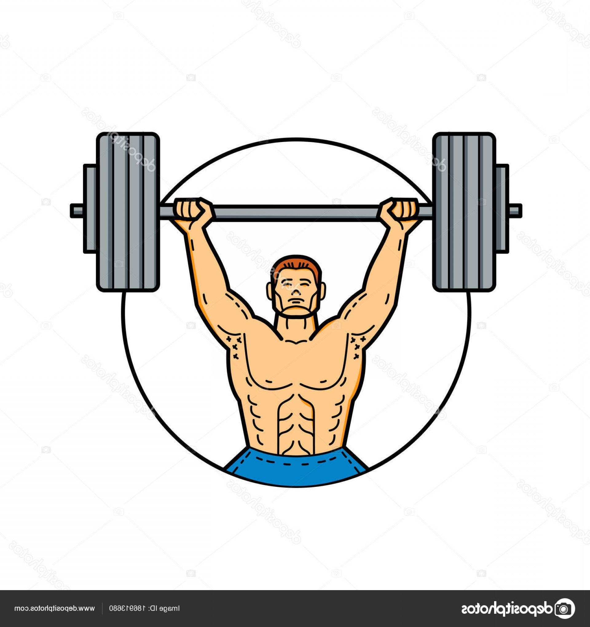 Weightlifter Vector Art: Stock Illustration Weightlifter Lifting Barbell Mono Line