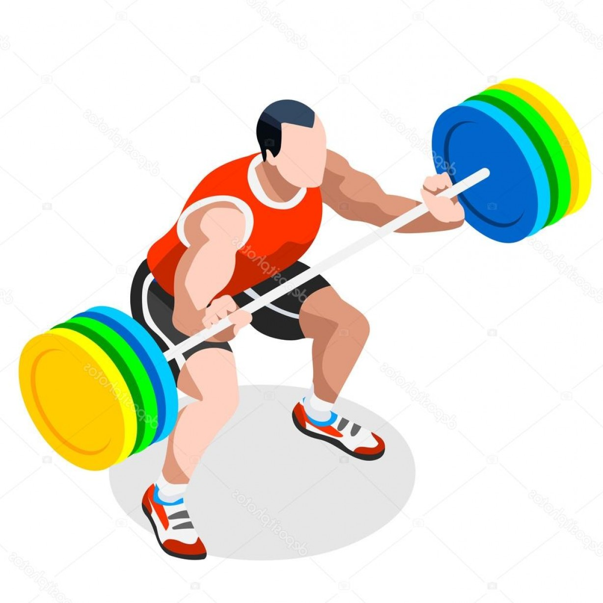 Weightlifter Vector Art: Stock Illustration Weightlifting Summer Games Icon Set