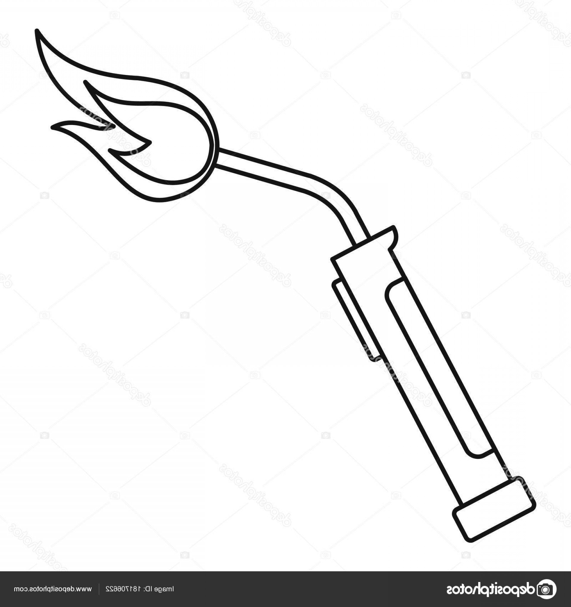 Welder's Torch Vector: Stock Illustration Welding Torch Icon Outline