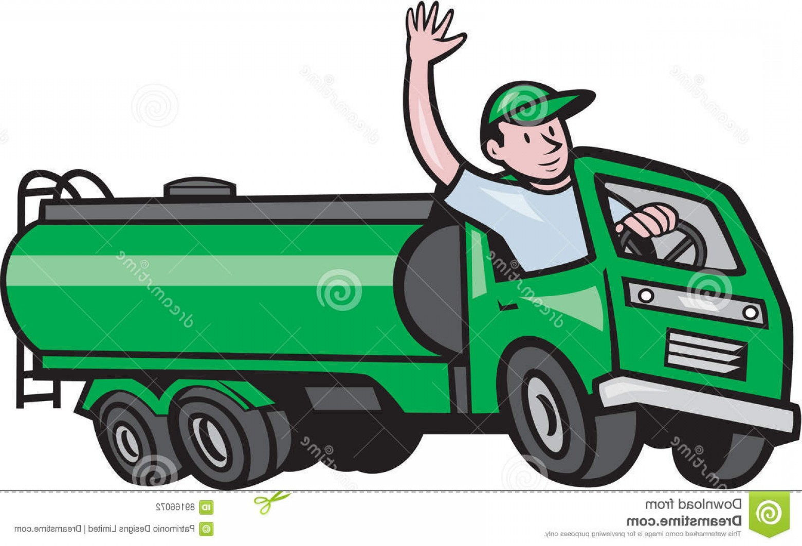 Vector Semi Tanker: Stock Illustration Wheeler Tanker Truck Driver Waving Cartoon Illustration Six Petrol Hello Isolated White Background Done Image