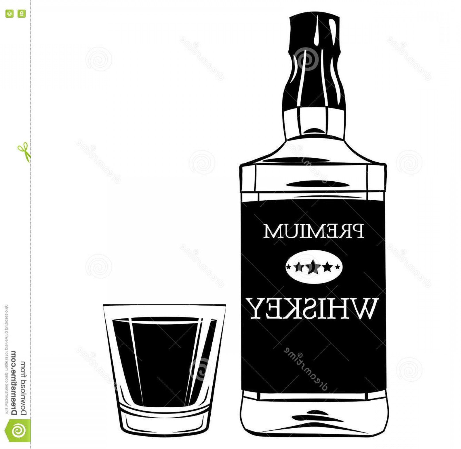Booze Bottle Vector: Stock Illustration Whiskey Bottle Shot Glass Alcohol Drink Vintage Vector Elements Isolated White Background Image