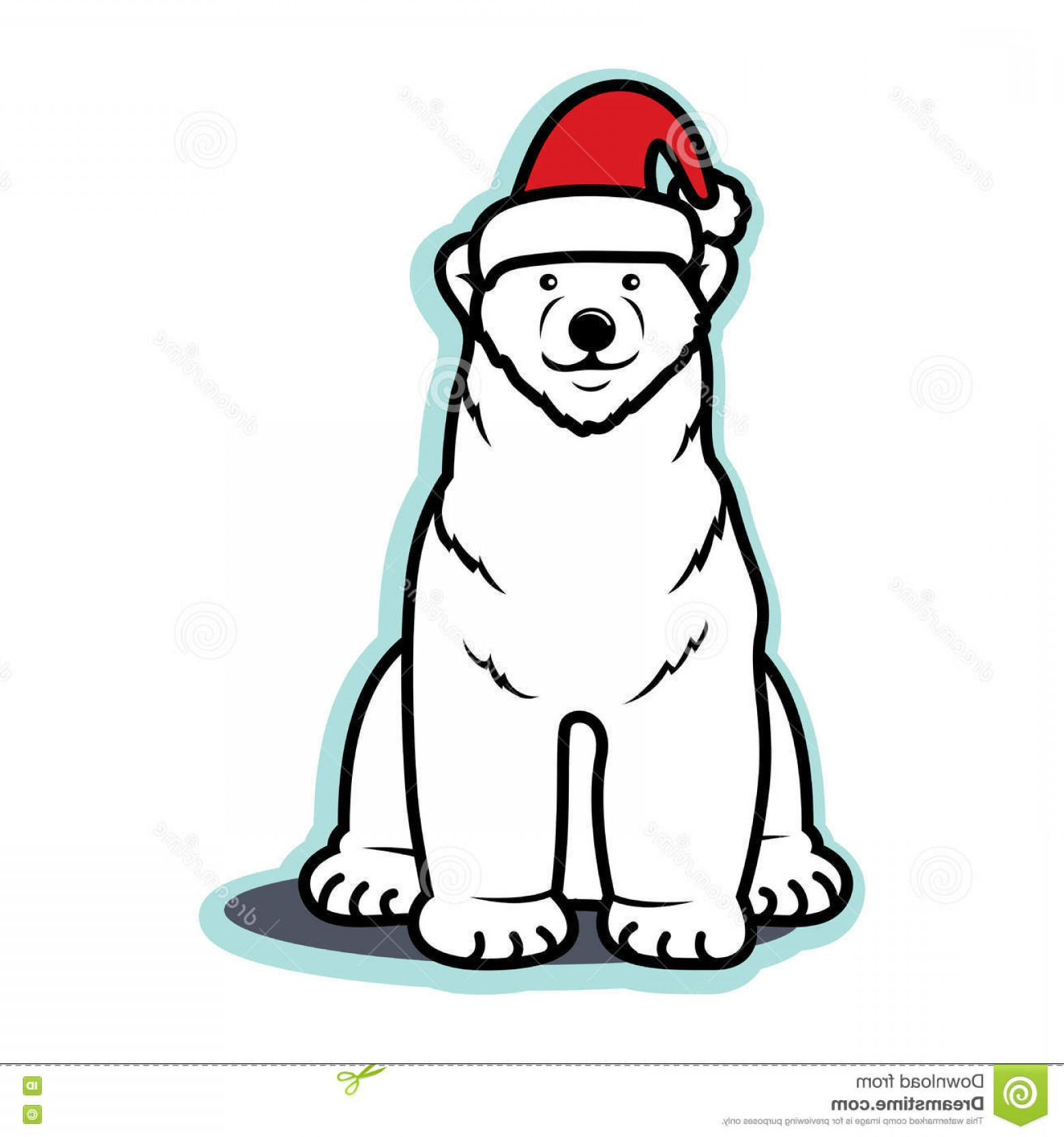 Vector-Based Christmas: Stock Illustration White Christmas Polar Bear Santa Hat Vector Based Illustration Wearing Red Sitting Smiling Happy Image