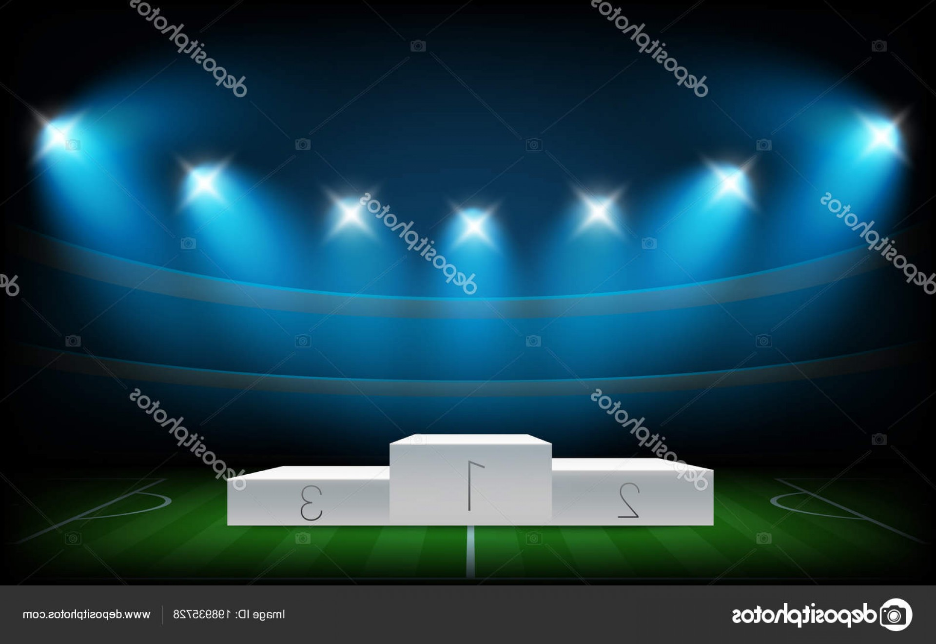 Vector Sport Spot: Stock Illustration White Illuminated Sport Podium Soccer