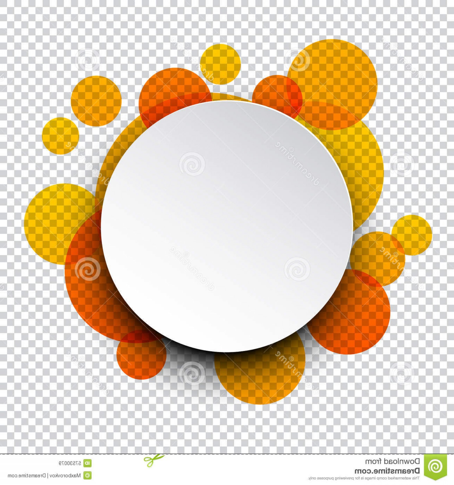 Vector Bubbles Circle: Stock Illustration White Paper Label Over Orange Bubbles Vector Illustration Round Speech Bubble Circles Eps Image