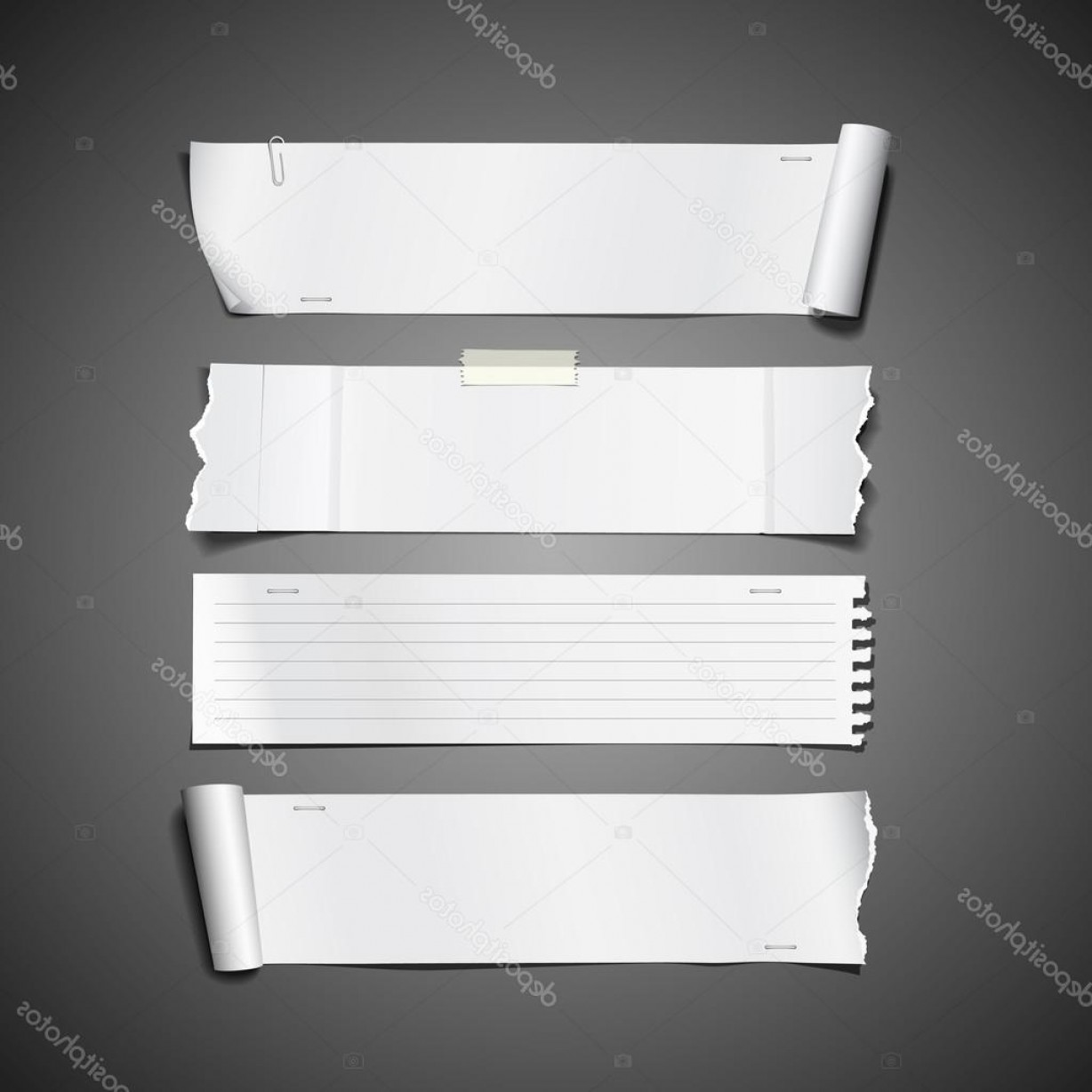 Ripped Black And White Vector: Stock Illustration White Paper Roll Ripped Design